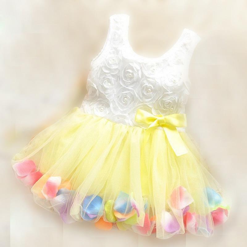 summer girls dress for 0-2 years baby kids rose petal hem dress color cute dressed girls baby dress(China (Mainland))