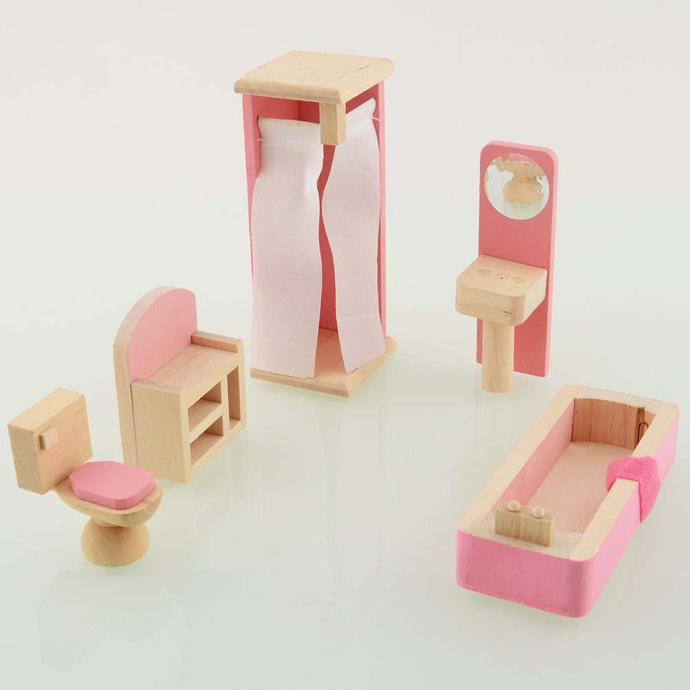 Wooden Dolls House Furniture Miniature Bathroom For Kids Childrentoy Gift Hot Sta In Doll Houses