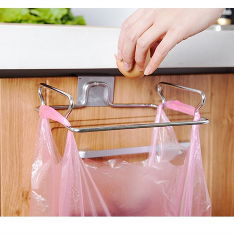 Stainless Steel Hanging Garbage Bags Rack Kitchen Wash Cloth Towel Storage Holders Cupboard Cabinet Stand Organizer(China (Mainland))