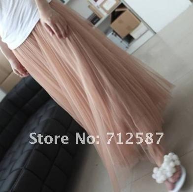 High-end chiffon crumple net yarn large tutu half length skirt#5178