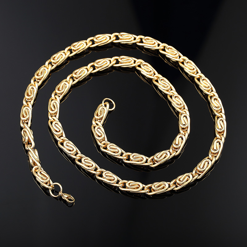 Correntes de Ouro Masculino Hiphop 24K Real Gold Chain Men Bling Bling Hip Hop Jewelry Punk Biker Golden Franco Necklaces HN013(China (Mainland))