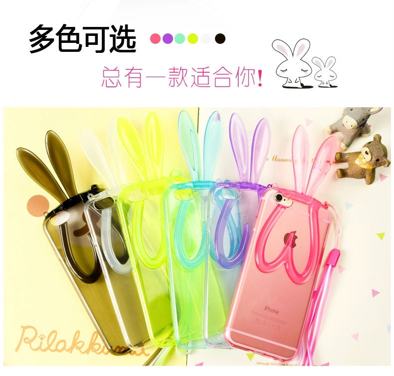 bunny ears TPU silicon protecter for iphone 6 Plus 5.5 inch box rabbit i hanging rope belt transparent back cover for Phone more(China (Mainland))