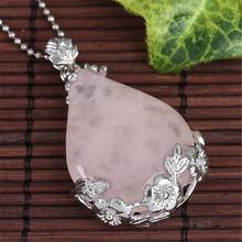 Reiki Healing Rose Quartz Crystal Waterdrop Pendant