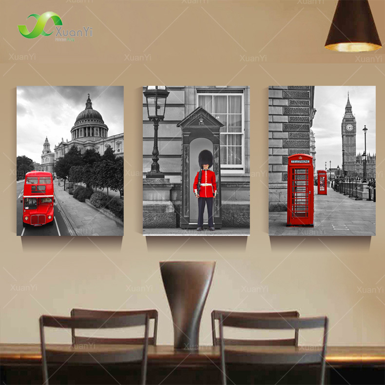 Buy 3 panel modern printed london city for Home decorations london