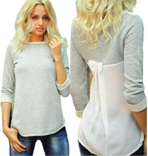 2016 New Women Lady  Spring Fashion  Sexy Casual  grey Bowknot O Neck Top T-shirt(China (Mainland))