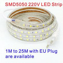 Buy LED Strip Flexible Light SMD5050 AC 220V EU Plug Waterproof IP67 Outdoor Use 1M 4M 5M 8M 9M 10M 15M 20M for $4.00 in AliExpress store