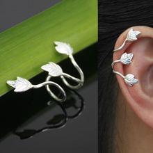 Gothic Punk Rock Silver Feather Leaf Piercing Clips Clip On Ear Cuff Earcuff Cuffs Earring Wrap No Pierced Earrings anel(China (Mainland))