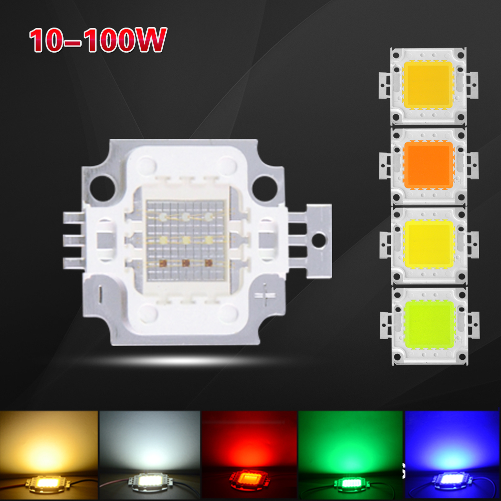 Full 10W 20W 30W 50W 100W LED COB Bead Integrated Chip For Floodlight Lamp DIY In Warm White / White / Red / Green / Blue / RGB(China (Mainland))