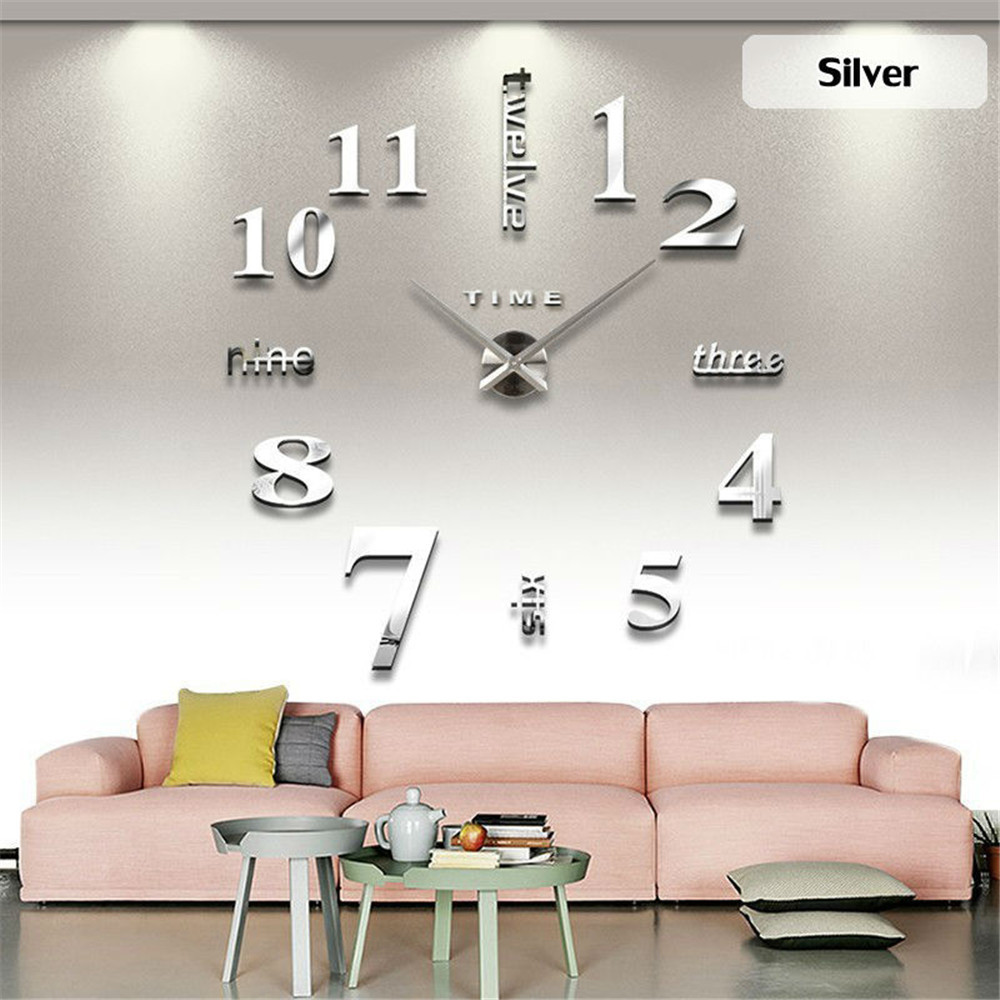 Diy large modern design decorative digital 3d wall clocks - Oversized modern wall clock ...
