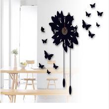 หรูหราทันสมัยสีดำกระจก3D DIYดอกไม้ผีเสื้อนาฬิกาที่ถอดออกได้ผนังสติ๊กเกอร์# 70489(China (Mainland))
