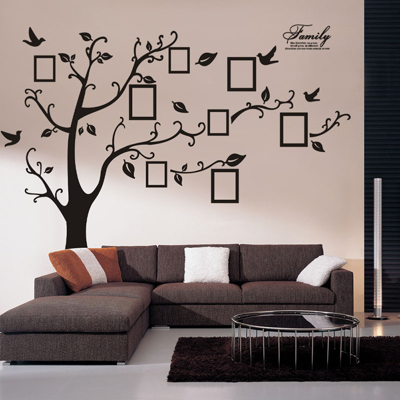 2016 large 200 250cm 79 99 black 3d diy family tree wall for Diy family tree wall mural