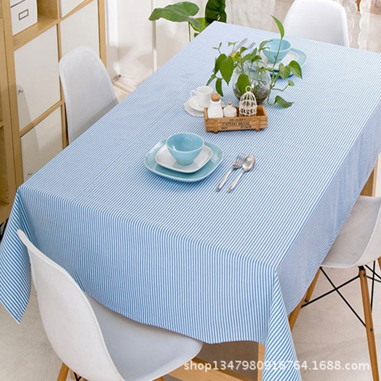 Korean fresh linen blue striped table cloth fashion simple pastoral coffee table cover tablecloths(China (Mainland))