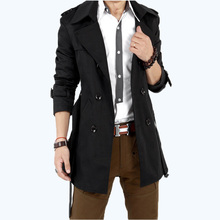 Free Shipping 2015 Fashion Stylish Trench Men's Outerwear Jackets Slim Double Breasted Mens Overcoat Trench Coat DL 59(China (Mainland))