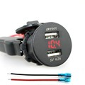 High Quality 12V Car 4 2A Dual USB Charger Socket Voltage Voltmeter Motorcycle Boat Red for