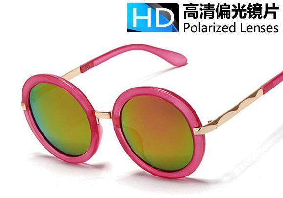 2015 New vintage Round polarized Sunglasses women brand Polaroid mirror Sun lenses frames Metal wave shades purple - Your lohas time store