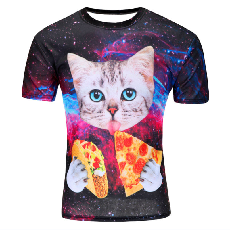 Summer 2016 Fashion Mens T shirts Men Latest Pizza Cat 3D Printing Tees kinds New Style Camiseta Hombre Manga Corta Tshirt Homme(China (Mainland))