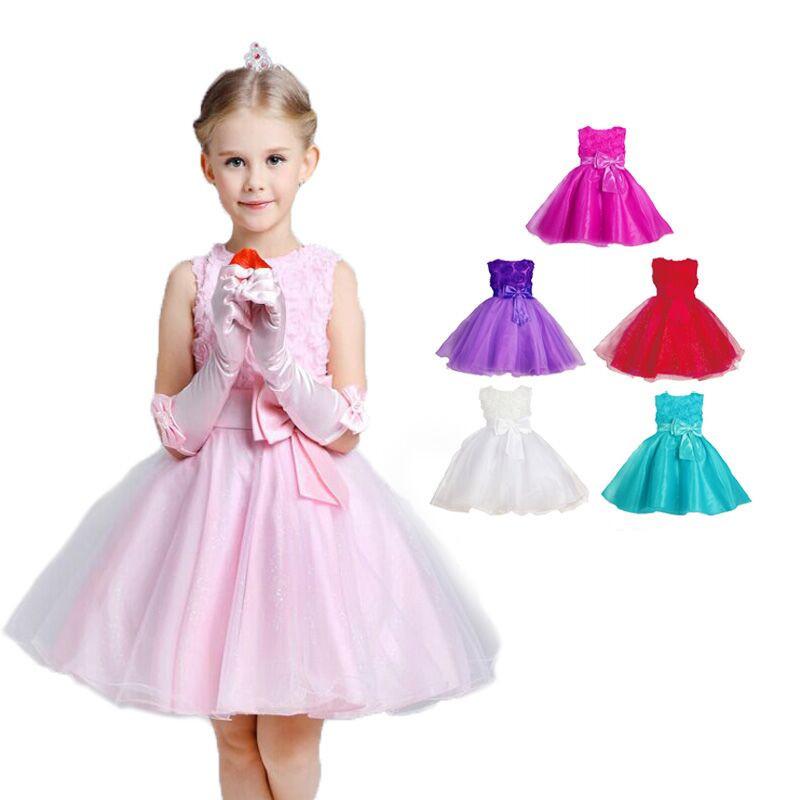 on sale!!! 2016 Girls dresses baby Girls Red Rose princess dress Kids Wedding Party Dresses fashion costume children clothing(China (Mainland))