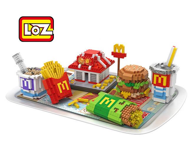 Mcdonald's Hamburger chips Food model Toy LOZ Educational Minifigures Block Diamond Building Blocks ABS plastic Bricks Toy(China (Mainland))