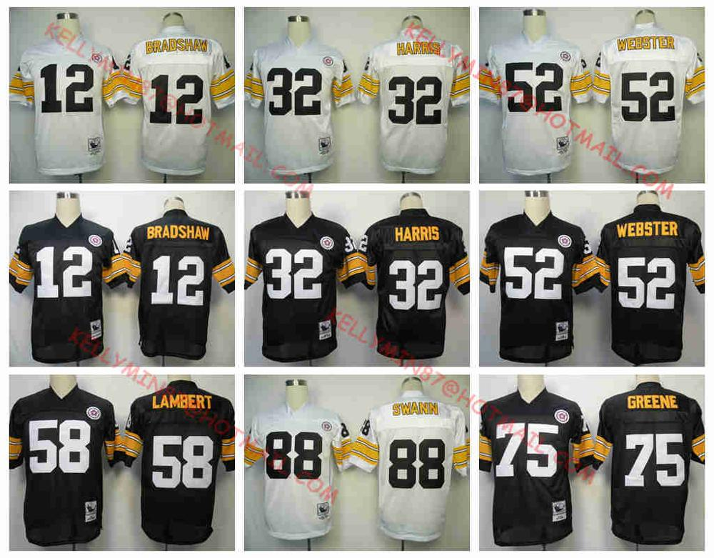 Stitiched, Pittsburgh Steelers, Terry Bradshaw, Franco Harris, Bettis, Mike Webster, Jack Lambert, Joe Greene, Lynn Swann, Throwback(China (Mainland))