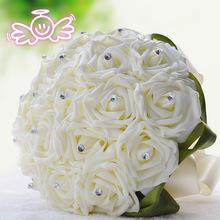 2015 neue hochzeit dekoration Brautstrauß stieg seide perlen handgefertigt brautjungfer blumen hochzeit zubehör(China (Mainland))