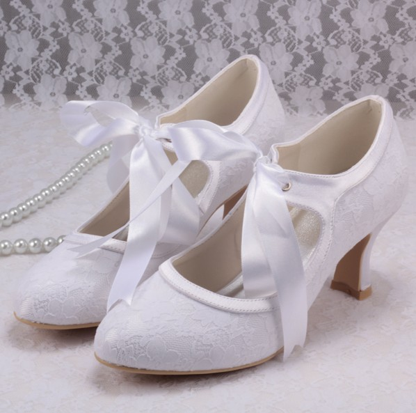 Wedopus Mary Jane Lace White Wedding Shoes Bride Low Heels - Shenzhen Magic Co.,Ltd. store