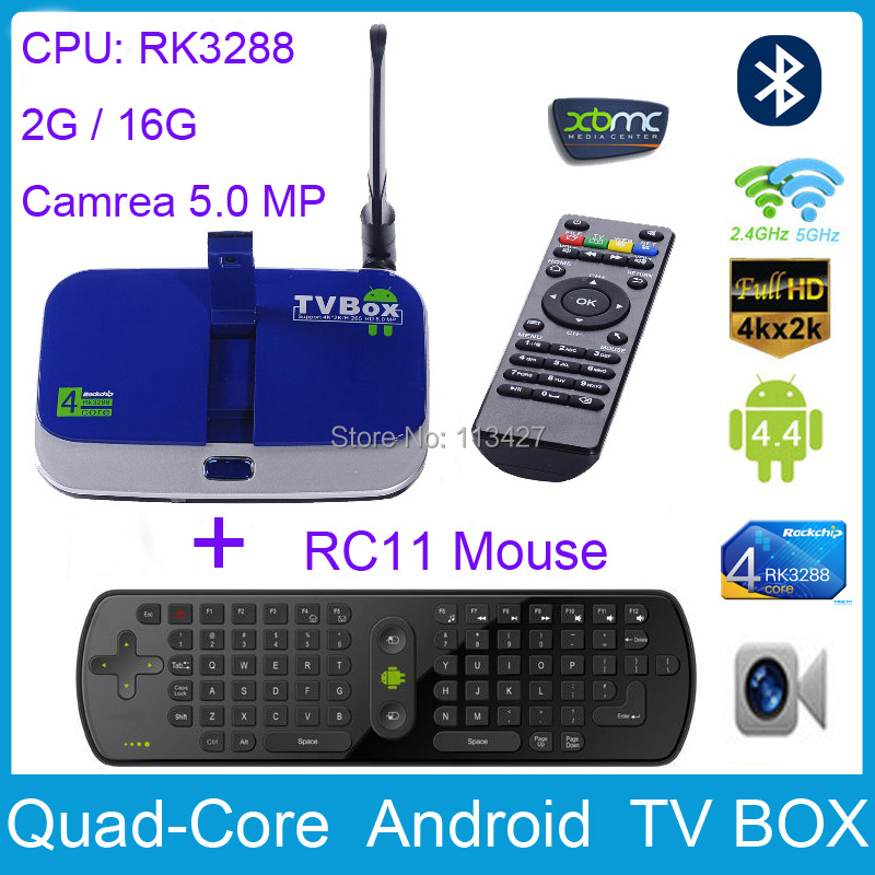CS928 2G /16G Android 4.4 Quad Core RK3288 TV BOX 2.4G/5G Wifi HDD Player W/ 5 MP Camera Bluetooth 4.0 RJ45 + RC11 Air mouse(China (Mainland))