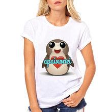 2019 Vrouw Cartoon Straat Meisje T-Shirt Zomer Dames Tops Hipster Mooie Korte Mouw Tee Meisje Steek Star Wars Porg T shirt(China)