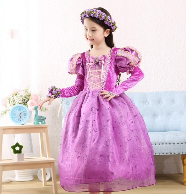 Tangled princess rapunzel costume kids christmas girl children cosplay
