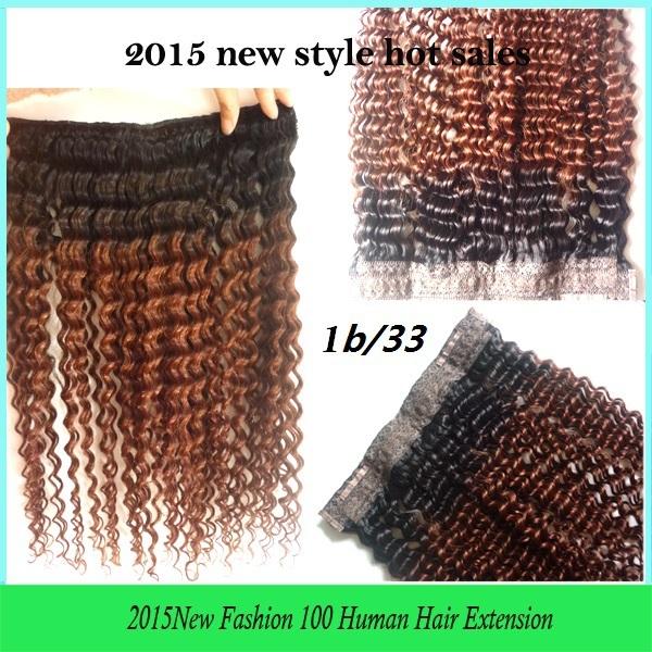 Высочайшее качество 18-26inch100g/pc цвет 1b/33 глубоко вьющиеся флип в Бразильские человеческие halo наращивание волос
