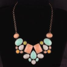 quartz druzy three color statement necklace rope chain choker  for women maxi necklace pendant(China (Mainland))