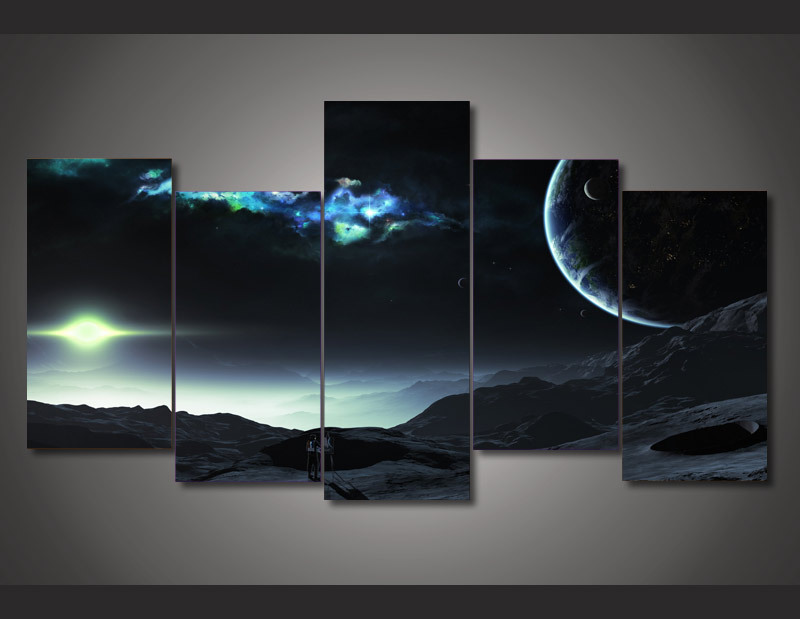 5 panel framed painting universe planet painting on canvas room decoration print poster picture. Black Bedroom Furniture Sets. Home Design Ideas