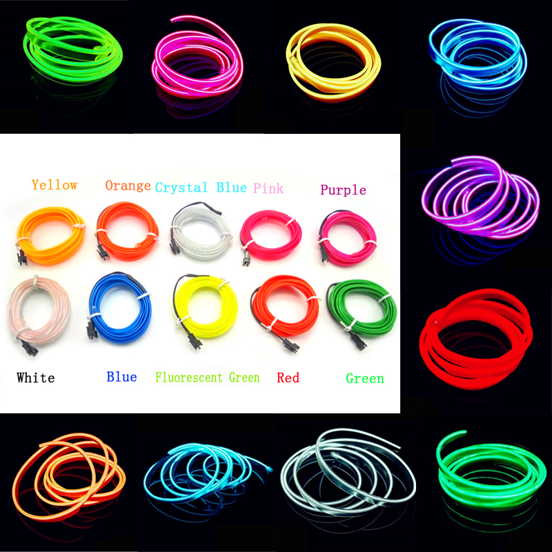 2M Cold Light Blue Red Yellow Orange Pink Green White EL Wire Flexible Neon Light Car Decorate With Cigarette lighter Drive(China (Mainland))