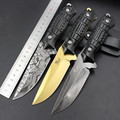 3 Type Optional Domineering High Hardness Tactical Outdoor Exquisite Knife Golden Pattern Comfortable Handle With Leather
