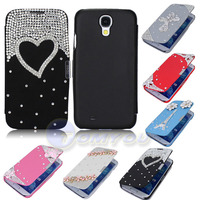 New Hot Sale 3D Luxury Bling Flip Leather Full Flowers Diamond Case Cover For Samsung Galaxy S4 SIV I9500 Free Shipping