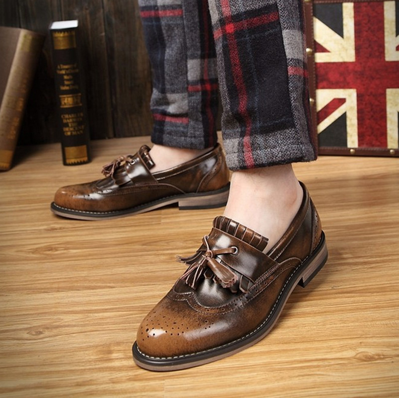 Tassel Vintage Oxfords Men Leather Shoes Casual Business Shoes Slip On Breathable Men Shoes(China (Mainland))