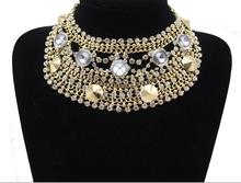 2015 Fashion Jewelry Bubble Chains Neck Bib Collar Chokers gold & crystal Statement Necklace Women Evening Dress necklace(China (Mainland))