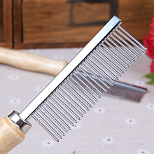 Hot Pet Comb With Wooden Handle Single Needle Row Pet Dog Comb Steel Pet Hair Beauty Products Metal Dog Comb Brush Free Shipping