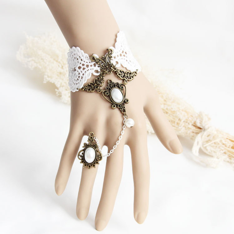 Handmade Elegant Butterfly Style White Floral Lace Bracelet Adjustable Ring Set Wristband Lolita Gothic Bridal Bridesmaid Party - Fashion JONE store