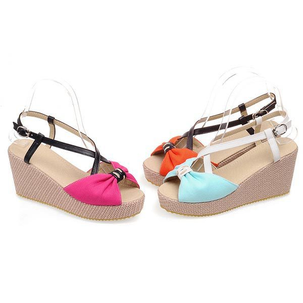 2015 summer new fashion sweet simple wedge heel comfortable breathable sandals spell color bow fish head wedges D408(China (Mainland))