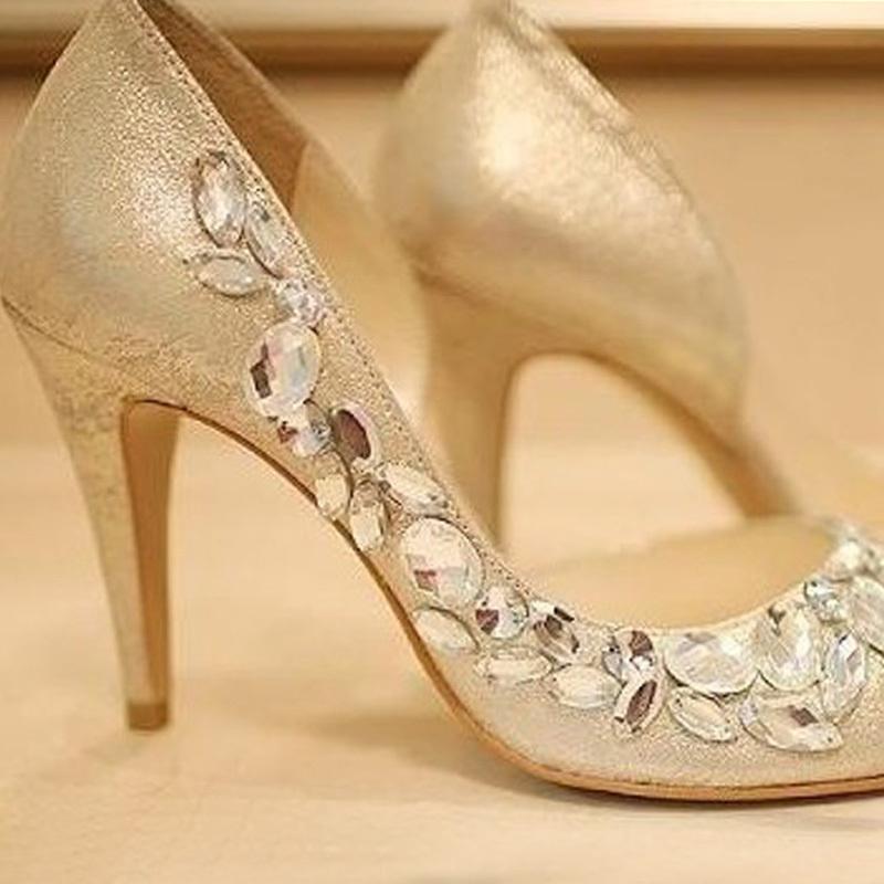 High heels champagne rhinestone shoes wedding shoes for for Heels for wedding dress