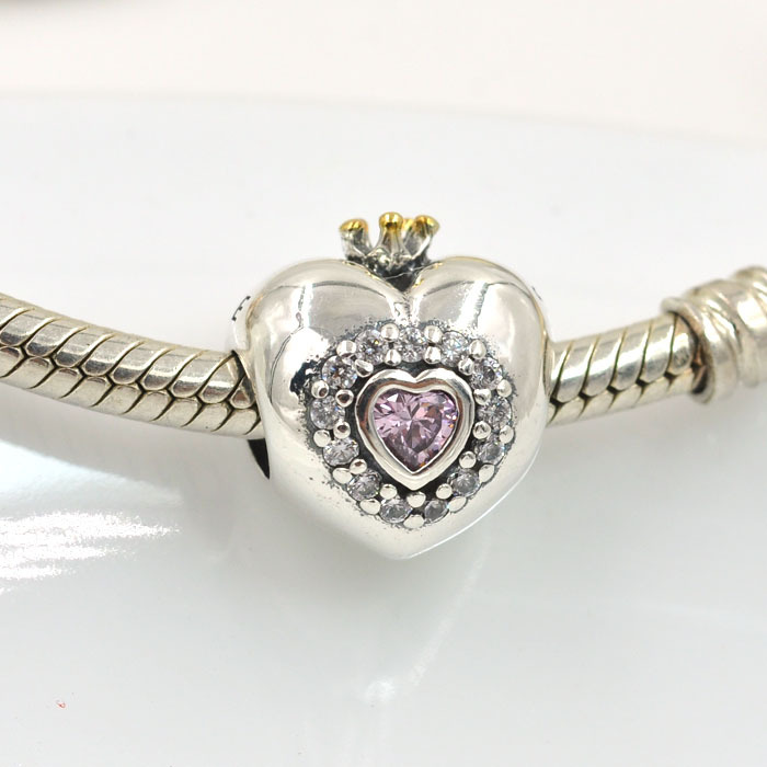 Original 925 Sterling Silver Beads Crystal Heart Princess Charm Fits Pandora Charms Bracelet DIY Women Bracelets & Bangles - Jewelry store