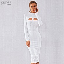 Adyce 2019 חדש סתיו נשים Bodycon תחבושת שמלה לבן ארוך שרוול חלול את מועדון שמלת Vestidos סלבריטאים ערב המפלגה שמלה(China)
