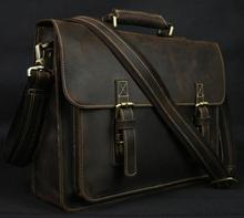 Vintage Crazy Horse Leather Men's Briefcase Laptop Business Case Genuine Leather Messenger Bag Men Shoulder Bag Crossbody Bag(China (Mainland))