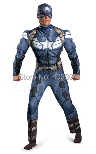 ,Movie Captain America 2, adult Winter Soldier muscle costume Cosplay mucsle clothes - HH Party Costume Store store