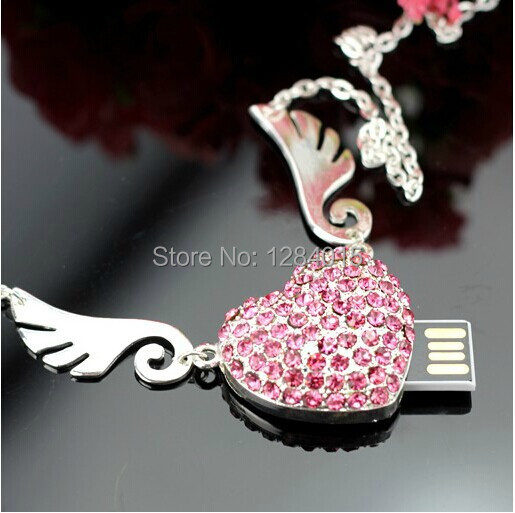 The angel of love heart shape USB Flash Drive Crystal special gift for Lovers girl pendrive 8GB/16GB free shipping(China (Mainland))