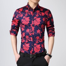 2015 New Spring Fashion Brand Men Clothes Slim Fit Flower Men Long Sleeve Shirt Men High-end Casual Men Shirt Social 4XL 5XL