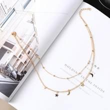Collier en gros Punk 2018 nouveau collier de mode or/argent Simple Double lune étoile collier court vente Acero inoxydable Mujer(China)