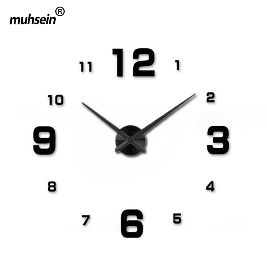2017muhsein Full Black Wall Clock Modern DesignHome Decoration Big Mirror 3D DIY Large Decorative Wall Clocks Watch Unique Gift(China (Mainland))