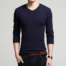New 2016 Spring and Autumn V-neck solid men sweater brand leisure knit large size M-4XL male jumper 7 colors free shipping(China (Mainland))