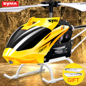 Original Syma W25 2 CH 2 Channel Indoor Mini RC Helicopter Drone with Gyro Crash Resistant Baby toys, Red,Yellow Color
